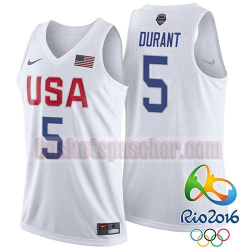 maillot usa 2016 Kevin Durant 5 homme blanc