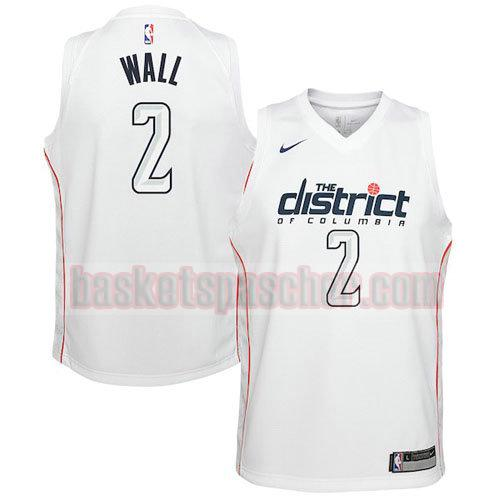maillot washington wizards ville 2017-18 Wall 2 homme blanc